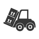 Monochrome silhouette with forklift truck with forks and boxes Stock Photos