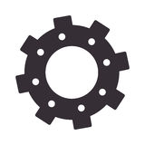 Monochrome silhouette with gear of wheels Stock Image