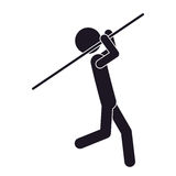 Monochrome silhouette with gymnast launch Javelin Stock Images
