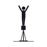 Monochrome silhouette of gymnastics in pommel horse Royalty Free Stock Images