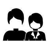 Monochrome silhouette with half body couple without face and both with short hair Royalty Free Stock Photography