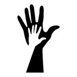 Monochrome silhouette of hand with shadow Royalty Free Stock Images