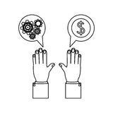 Monochrome silhouette with hands dialogue spheres with pinions and money symbol Royalty Free Stock Photo