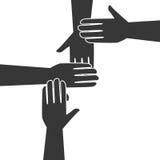 Monochrome silhouette hands teamwork icon design Stock Image