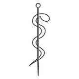 Monochrome silhouette of health symbol with asclepius snake coiled. Illustration Royalty Free Stock Images