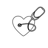 Monochrome silhouette of heart with stethoscope. Illustration Stock Photos