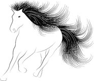 Monochrome silhouette Horse. Running with flowing mane Vector Illustration