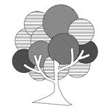 monochrome silhouette leafy tree plant with abstract lines and thin trunk Royalty Free Stock Photo