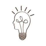 Monochrome silhouette of light bulb with glass in shape of human face with spiral filament Stock Photos