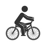 Monochrome silhouette of man in bicycle Royalty Free Stock Image
