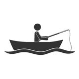Monochrome silhouette with man in boat of fishing. Vector illustration Stock Photo