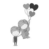 Monochrome silhouette man holding girl floating with heart-shaped balloons Stock Photo