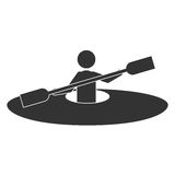 Monochrome silhouette with man and kayak rowing Royalty Free Stock Photo
