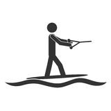 Monochrome silhouette with man water skiing Royalty Free Stock Images