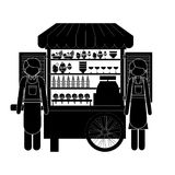 Monochrome silhouette man and woman with ice cream bike Stock Photo