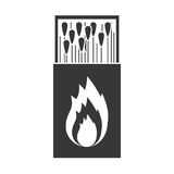 Monochrome silhouette of matchbox with logo flame Stock Image