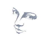Monochrome silhouette of melancholic attractive lady, face Royalty Free Stock Image