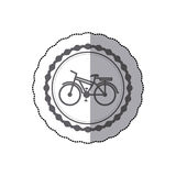 Monochrome silhouette with middle shadow sticker of bicycle with basket in round frame Stock Photography