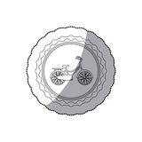Monochrome silhouette with middle shadow sticker of child bicycle in round frame Stock Photos