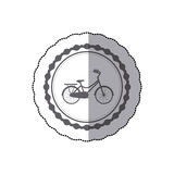 Monochrome silhouette with middle shadow sticker of child bicycle in round frame Royalty Free Stock Image