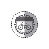Monochrome silhouette with middle shadow sticker of classic bicycle in round frame and label Royalty Free Stock Photo