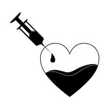 Monochrome silhouette Needle syringe donate blood in heart shape. Illustration Royalty Free Stock Photography