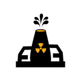 Monochrome silhouette with nuclear reactor symbol. Vector illustration Stock Image