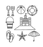 Monochrome silhouette with objects set for fun in beach royalty free illustration