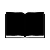 Monochrome silhouette with open book with sheets blacks. Illustration vector illustration