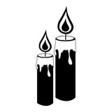 Monochrome silhouette with pair of candles Royalty Free Stock Photography
