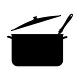 Monochrome silhouette with pans and soup ladle. Vector illustration Royalty Free Stock Images