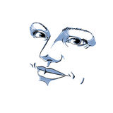 Monochrome silhouette of peaceful attractive lady, face features. Hand-drawn vector illustration of woman visage, outline Royalty Free Stock Photos