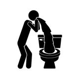 Monochrome silhouette with person vomiting in the toilet. Illustration Stock Photography