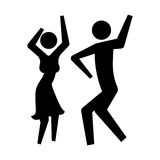 Monochrome silhouette pictogram couple enjoy a party Stock Image
