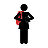 Monochrome silhouette pictogram with student girl Stock Images