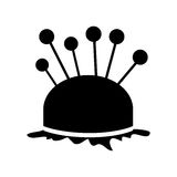 Monochrome silhouette pincushion with pins icon Royalty Free Stock Photography