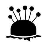 Monochrome silhouette pincushion with pins icon Royalty Free Stock Photos