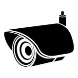 Monochrome silhouette with security video camera Royalty Free Stock Photo