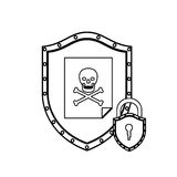 Monochrome silhouette with shield with file virus and padlock Royalty Free Stock Photos