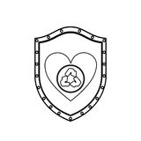 Monochrome silhouette with shield with heart with recycling symbol Stock Image