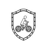 Monochrome silhouette with shield with man in eco bike Royalty Free Stock Photo