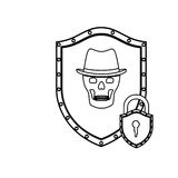monochrome silhouette of shield with skull with hat and padlock Royalty Free Stock Photo