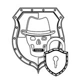 Monochrome silhouette of shield with skull with hat and padlock Royalty Free Stock Images