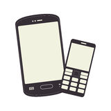 Monochrome silhouette with smartphone and cellphone Royalty Free Stock Photography