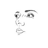 Monochrome silhouette of smiling attractive lady, face features. Hand-drawn vector illustration of woman visage, outline. Caucasian type Royalty Free Stock Image