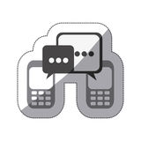 monochrome silhouette sticker of cell phones communication dialogue box Stock Photos