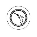 Monochrome silhouette sticker with circular frame with drill tool Royalty Free Stock Image