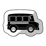 monochrome silhouette sticker with transport bus Stock Images