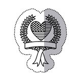 monochrome silhouette sticker with united states flag in shape of heart and olive crown and label Stock Images