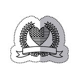 Monochrome silhouette sticker with united states flag in shape of heart and olive crown with ribbon. Illustration Stock Image